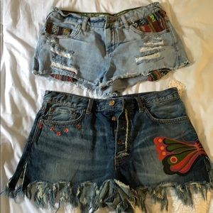 Two pairs of Free People Jean shorts